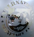 <p>The International Monetary Fund (IMF) logo is seen during a news conference in Bucharest March 25, 2009. REUTERS/Bogdan Cristel</p>