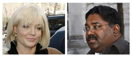 Combination photo shows Raj Rajaratnam, the principal in the $21 million Galleon Group hedge-fund insider trading case, as he arrives at a U.S. Court to face conspiracy and securities fraud charges, in New York December 21, 2009 (R) and Danielle Chiesi, who is charged with conspiracy and securities fraud in connection with the $21 million Galleon Group hedge-fund insider trading case, at a U.S. Court in New York December 21, 2009. REUTERS/Mike Segar