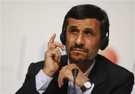 Iran's President Mahmoud Ahmadinejad speaks at a news conference during the session of United Nations Climate Change Conference 2009 in Copenhagen December 18, 2009. REUTERS/Christian Charisius