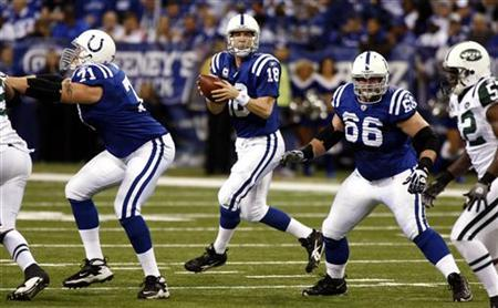 Indianapolis Colts quarterback Peyton Manning (18) looks for an open receiver guarded by Colts offensive linemen Ryan Diem (71) and Kyle DeVan against the New York Jets during their game in Indianapolis December 27, 2009. REUTERS/Brent Smith
