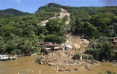 An aerial view of Pousada Sankay hotel buried by a mudslide in Angra dos Reis, Rio de Janeiro state January 1, 2010. REUTERS/Bruno Domingos