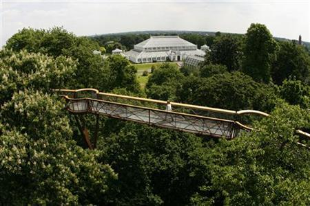 A woman walks across the new Rhizotron and Xstrata Treetop walkway, with a view of the Temperate House behind, at Kew Gardens in London May 22, 2008. REUTERS/Luke MacGregor
