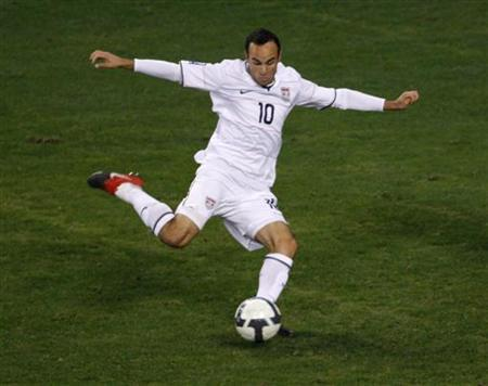 The Los Angeles Galaxy's captain Landon Donovan, pictured during a 2010 World Cup qualifying match between the U.S. and Costa Rica in Washington in this October 14, 2009 file photo. REUTERS/Hyungwon Kang/Files