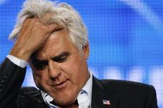"""<p>Host Jay Leno answers a reporter's question during a panel for his upcoming television series """"The Jay Leno Show"""" at the Television Critics Association Cable summer press tour in Pasadena, California August 5, 2009. REUTERS/Mario Anzuoni</p>"""