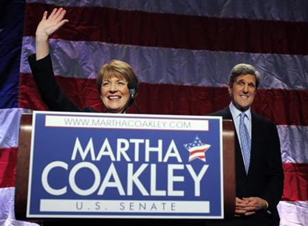 Massachusetts Attorney General Martha Coakley (L) speaks to supporters, with Senator John Kerry at her side, in Boston, Massachusetts December 8, 2009 after Coakley won the Democratic primary election for the U.S. Senate seat vacated by the death of Edward Kennedy. REUTERS/Brian Snyder