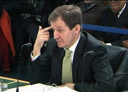 A video grab image shows Alastair Campbell, ex-director of communications to former Prime Minister Tony Blair, addressing the Iraq Inquiry in London January 12, 2010. REUTERS/UKBP Via Reuters TV