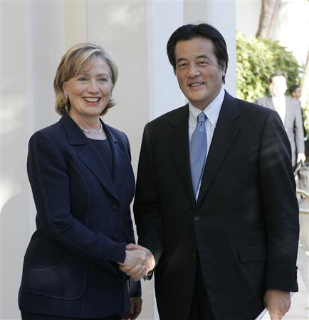U.S. Secretary of State Hillary Clinton meets with Japan's Foreign Minister Katsuya Okada to discuss U.S. military bases in Okinawa during her stopover in Kapolei, Hawaii, January 12, 2010. REUTERS/Hugh Gentry