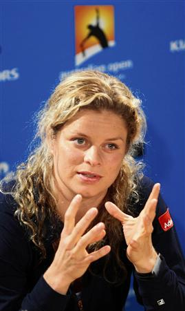 Kim Clijsters of Belgium answers a question during a news conference ahead of the Australian Open tennis tournament in Melbourne January 16, 2010. REUTERS/Vivek Prakash