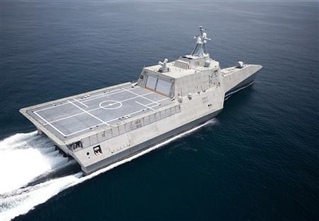 The littoral combat ship USS Independence is shown underway during builder's trials in the Gulf of Mexico in this file handout image from July 12, 2009. REUTERS/Dennis Griggs-General Dynamics/Handout