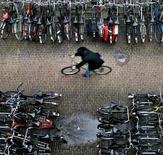 """<p>Crise économique ou pas, le marché du cycle reste florissant aux Pays-Bas, terre d'élection de la """"petite reine"""". Il s'est vendu l'an dernier environ 1,3 million de vélos, pour un prix moyen de 713 euros et un chiffre d'affaires global de 950 millions d'euros, en hausse de quatre pour cent par rapport à 2008. /Photo d'archives/ REUTERS/Koen van Weel</p>"""