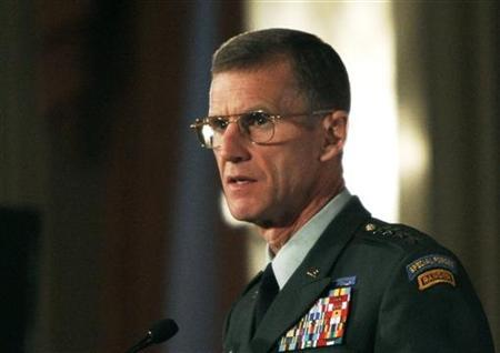General Stanley McChrystal, commander of the International Security Assistance Force and commander of United States Forces Afghanistan, delivers a speech to the Conference of Defence Associations in Ottawa in this December 16, 2009 file photo. REUTERS/Chris Wattie
