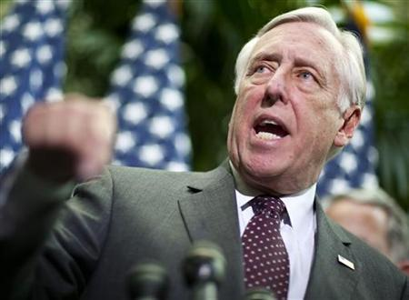 House Majority Leader Rep. Steny Hoyer (D-MD)(L-MD) speaks at a press conference where a plan to deal with executive compensation at companies which received capital under the Troubled Asset Relief Program (TARP) was announced on Capitol Hill in Washington, March 18, 2009. REUTERS/Joshua Roberts