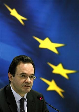 Greece's Finance Minister George Papaconstantinou addresses reporters during a news conference in Athens January 14, 2010. REUTERS/Yiorgos Karahalis