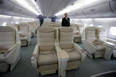 <p>A view of business class seating inside the Airbus A380 parked outside hangar 19 at JFK International Airport in New York March 19, 2007. REUTERS/Shannon Stapleton</p>