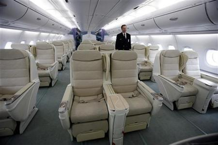 A view of business class seating inside the Airbus A380 parked outside hangar 19 at JFK International Airport in New York March 19, 2007. REUTERS/Shannon Stapleton