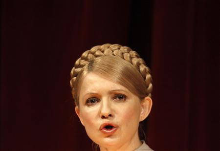 Ukraine's Prime Minister and presidential candidate Yulia Tymoshenko addresses the audience as she visits the National Polytechnic University in the Black Sea port of Odessa January 30, 2010. REUTERS/Gleb Garanich