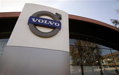 The logo of Volvo is seen at the main entrance to a customer showroom at company headquarters in Gothenburg September 23, 2008. REUTERS/Bob Strong