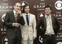 <p>Members of the band Modest Mouse, Grammy nominees for best rock song and best alternative album, arrive at the 47th annual Grammy Awards at the Staples Center in Los Angeles February 13, 2005. REUTERS/Robert Galbraith</p>