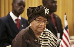 <p>Liberia's President Ellen Johnson-Sirleaf (C) attends the African Union (AU) summit in Addis Ababa February 1, 2010. REUTERS/Irada Humbatova</p>
