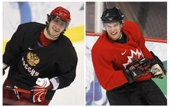 <p>Combination photo shows Russia's Alex Ovechkin and Canada's Sidney Crosby during their hockey practices for the Vancouver 2010 Winter Olympics, February 15, 2010. REUTERS/Shaun Best</p>