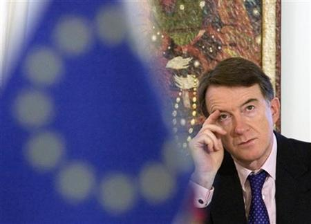 Business Secretary Peter Mandelson looks on during an interview in Moscow, February 15, 2008. REUTERS/Sergei Karpukhin