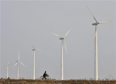 A resident pushes his bicycle past the Xianrendao Wind Power Plant in Yingkou, Liaoning province January 27, 2010. REUTERS/Sheng Li