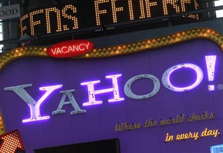 A Yahoo! billboard is seen in New York's Time's Square January 25, 2010. REUTERS/Brendan McDermid