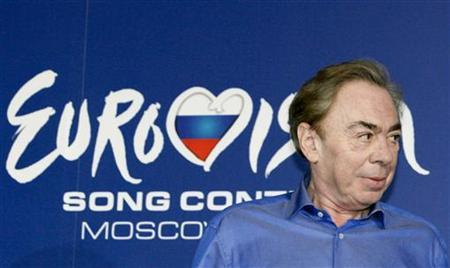 English composer Andrew Lloyd Webber attends a news conference ahead of the Eurovision Song Contest final in Moscow May 15, 2009. REUTERS/Sergei Karpukhin