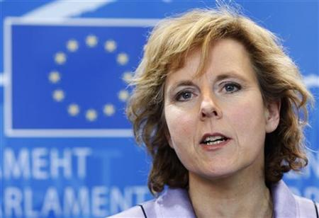 European Climate Action Commissioner-designate Connie Hedegaard of Denmark answers reporters' questions after her hearing before the European Parliament Environment, Public Health and Food Safety committee in Brussels January 15, 2010. REUTERS/Thierry Roge