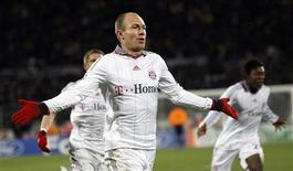 <p>Arjen Robben, do Bayern de Munique, celebra gol em partida contra a Fiorentina. REUTERS/Max Rossi</p>