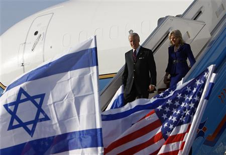 U.S. Vice President Joe Biden and his wife Jill Biden arrive at Ben Gurion International airport near Tel Aviv, March 8, 2010. REUTERS/Ronen Zvulun