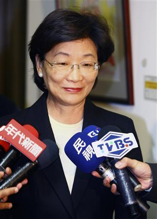 Taiwan's Justice Minister Wang Ching-feng speaks to the media at the Ministry of Justice building in Taipei March 11, 2010. REUTERS/Stringer