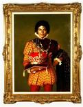 <p>A portrait of pop singer Michael Jackson dressed as a king by artist Norman Oak is shown in this image released to Reuters in this February 17, 2009 file photo. REUTERS/Shaan Kokin/Julien's Auctions/Handout</p>
