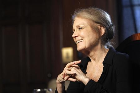 Pioneering feminist Gloria Steinem smiles while she is being interviewed in Beverly Hills, California March 16, 2010. As she turns 76 next week, the woman who walked the front lines of American feminism in the 1960s and 1970s -- often in a miniskirt, big glasses and buttons with colorful expletives -- celebrates her good health and ''huge, huge leaps forward.'' REUTERS/Mario Anzuoni