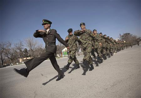 Afghan National Army officers march during a graduation ceremony in Kabul March 16, 2010. REUTERS/Ahmad Masood