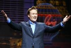 <p>U.S. talk show host Conan O'Brien gestures at the 2005 International Consumer Electronics Show in Las Vegas January 5, 2005. REUTERS/Mike Blake MB/CN</p>