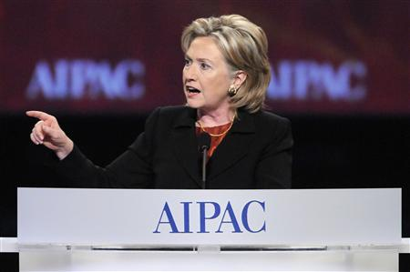 Secretary of State Hillary Clinton addresses the American Israel Public Affairs Committee annual policy conference in Washington, March 22, 2010. REUTERS/Jonathan Ernst