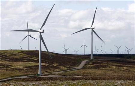 A general view shows the Whitelee Windfarm near Eaglesham, East Renfrewshire, in Scotland May 20, 2009. REUTERS/David Moir