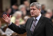 <p>Canada's Prime Minister Stephen Harper speaks during Question Period in the House of Commons on Parliament Hill in Ottawa March 24, 2010. REUTERS/Chris Wattie</p>