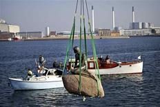 <p>The Little Mermaid sculpture on her rock is hoisted from its place in the waterline at Langelinie in Copenhagen, March 25, 2010, to be transported to the World Expo 2010 exhibition in Shanghai. REUTERS/Scanpix/Nils Meilvang</p>
