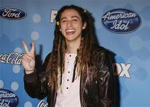 """<p>Finalist Jason Castro from Rockwall, Texas poses at the American Idol Top 12 party honoring the finalists in the """"American Idol"""" television reality series in Los Angeles, California, March 6, 2008. REUTERS/Fred Prouser</p>"""