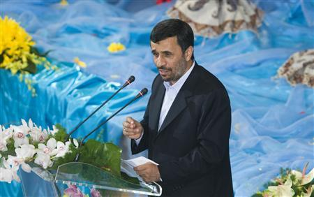 EDITORS' NOTE: Reuters and other foreign media are subject to Iranian restrictions on their ability to film or take pictures in Tehran. Iran's President Mahmoud Ahmadinejad speaks during celebrations for Nowrouz or the Iranian New Year in Tehran March 27, 2010. REUTERS/Raheb Homavandi