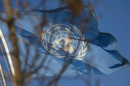 A United Nations flag is raised at the United Nations multi-agency compound near Herat, November 5, 2009. REUTERS/Morteza Nikoubazl