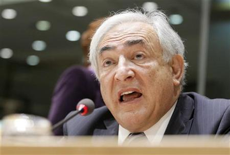 International Monetary Fund (IMF) Managing Director Dominique Strauss-Kahn speaks during a debate of the European Parliament's Committee on Economic and Monetary Affairs with National Parliaments on European and global economic reforms until 2020 taking place at EP in Brussels, March 17, 2010. REUTERS/Sebastien Pirlet