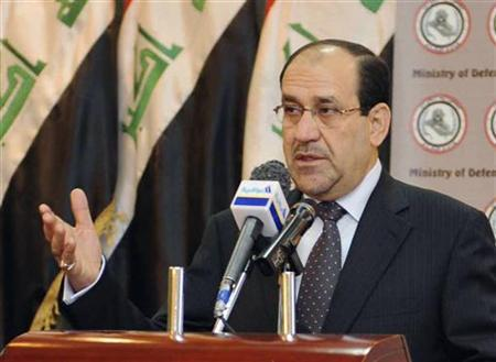 Iraq's Prime Minister Nuri al-Maliki speaks during a conference at the Iraqi Defence Ministry headquarters in Baghdad March 31, 2010. REUTERS/Iraqi Government/Handout