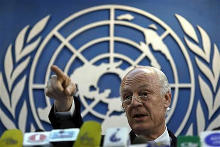 Staffan De Mistura, the new Special Representative of the United Nations for Afghanistan, speaks during a news conference in Kabul April 17, 2010. REUTERS/Omar Sobhani