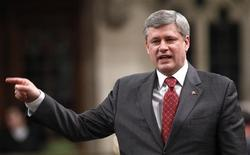 <p>Prime Minister Stephen Harper speaks during Question Period in the House of Commons on Parliament Hill in Ottawa April 21, 2010. REUTERS/Chris Wattie</p>