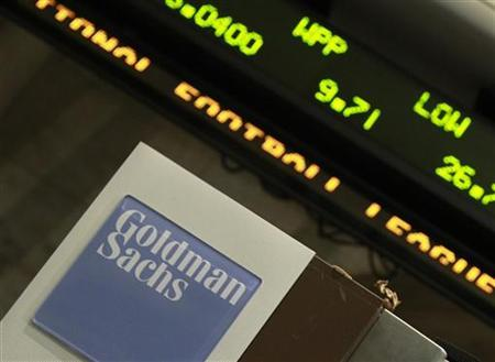 A Goldman Sachs sign is seen at the New York Stock Exchange, April 21, 2010. REUTERS/Brendan McDermid