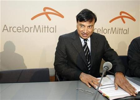 Chairman and Chief Executive Officer Lakshmi Mittal presents Year 2009 results of Arcelor Mittal steel group during a news conference in Luxembourg February 10, 2010. REUTERS/Thierry Roge