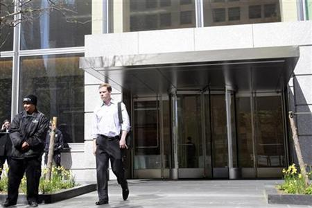 A man exits the Goldman Sachs Group Inc. global headquarters, also known by its address as 200 West Street, in New York's lower Manhattan, April 19, 2010. REUTERS/Brendan McDermid